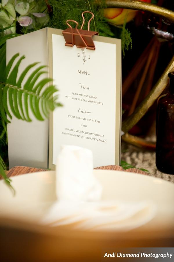 winsor event studio wedding menu display