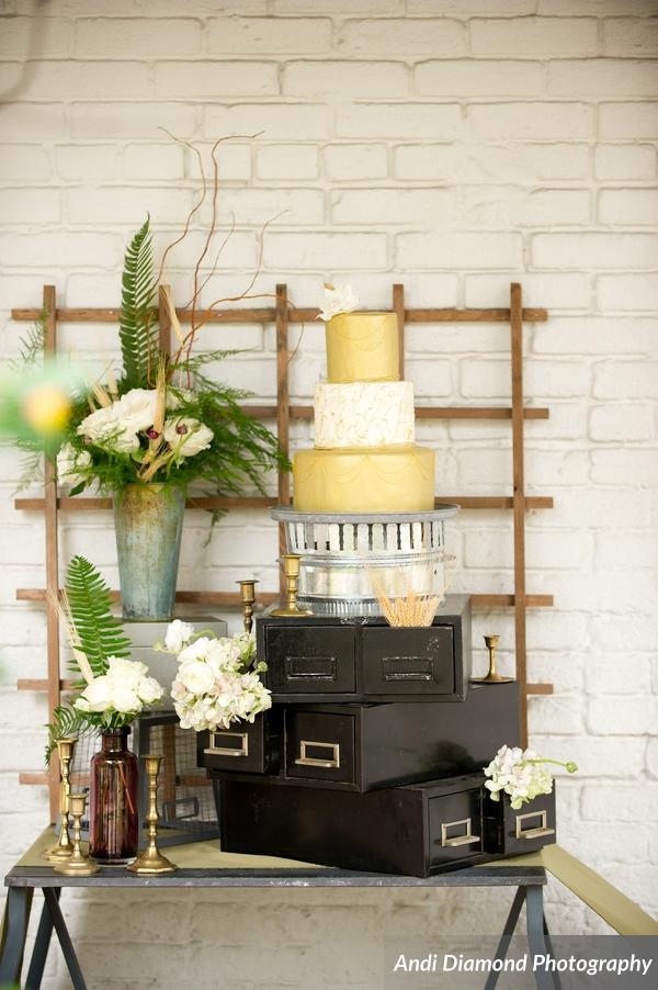 winsor event studio industrial chic wedding cake beer brew gold