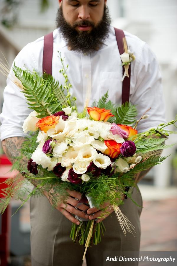 winsor event studio bride bouquet natural boho fern rose wheat renunculus ivory orange purple