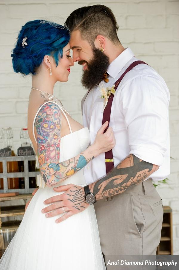 winsor event studio alternative hipster tattoo bride groom wedding