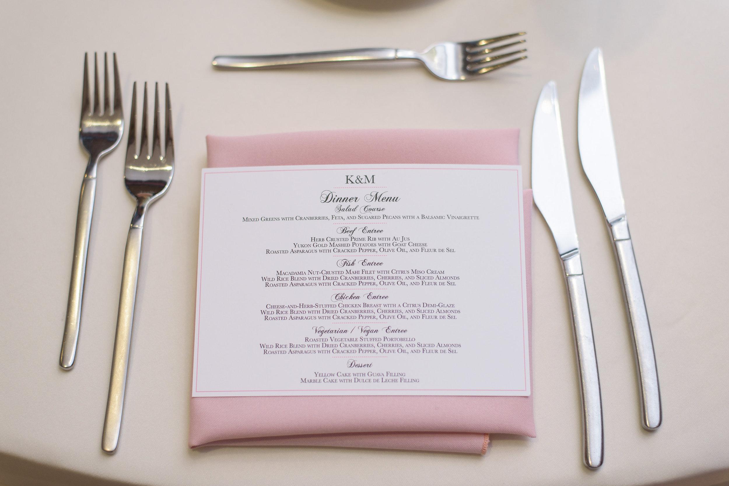 winsor event studio menu card napkin fold wedding