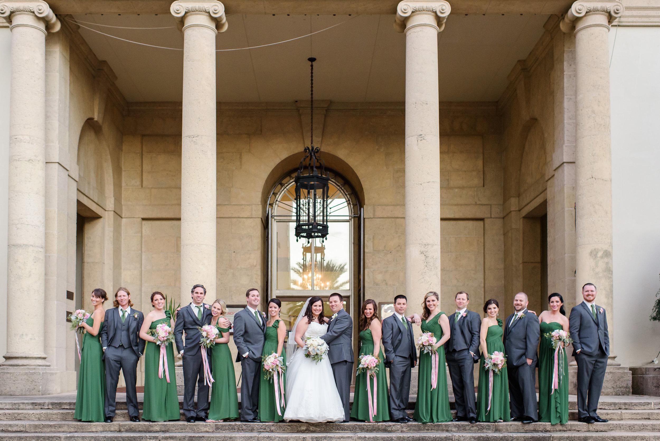 winsor event studio emerald green grey silver wedding party