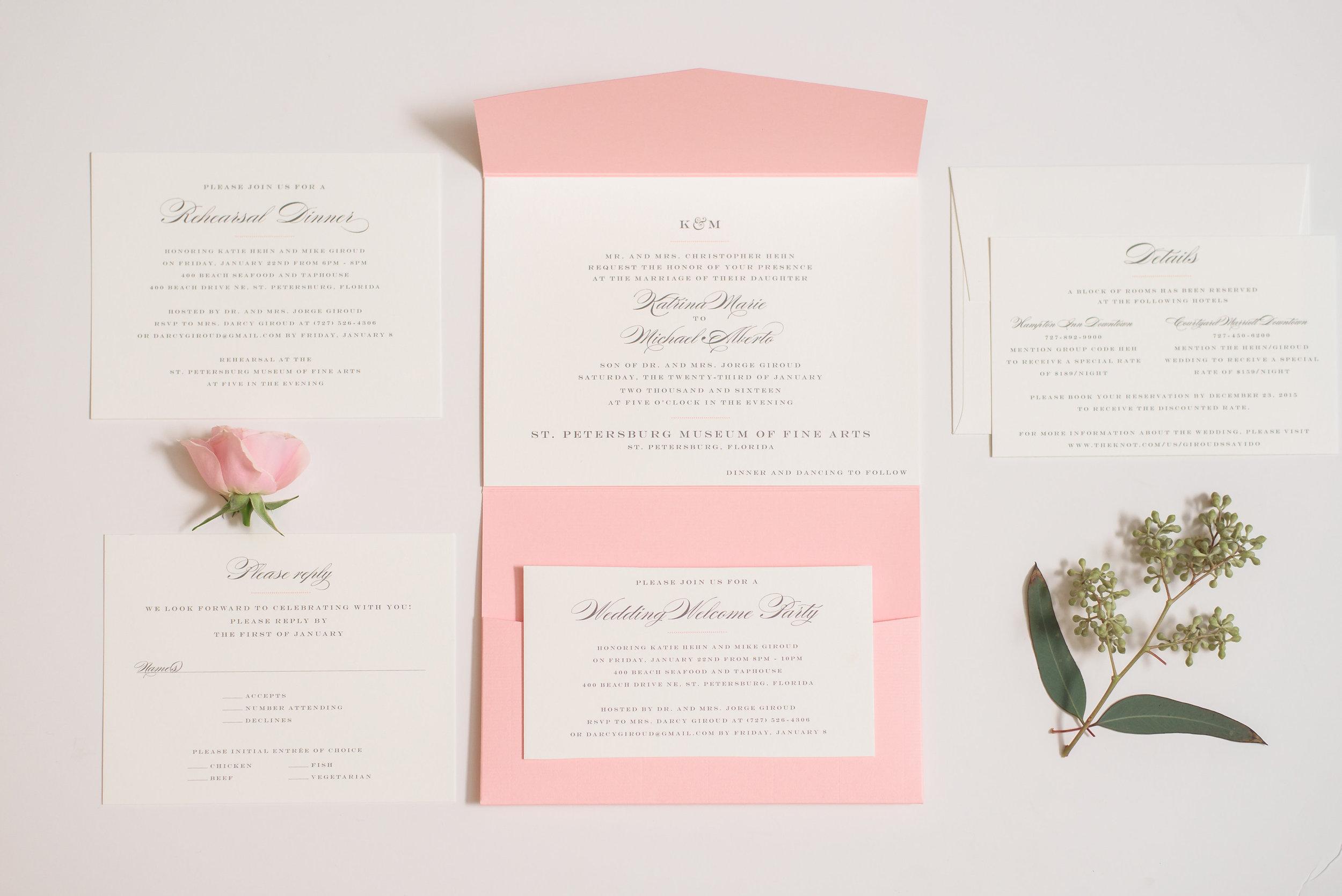 winsor event studio pocket invitation blush