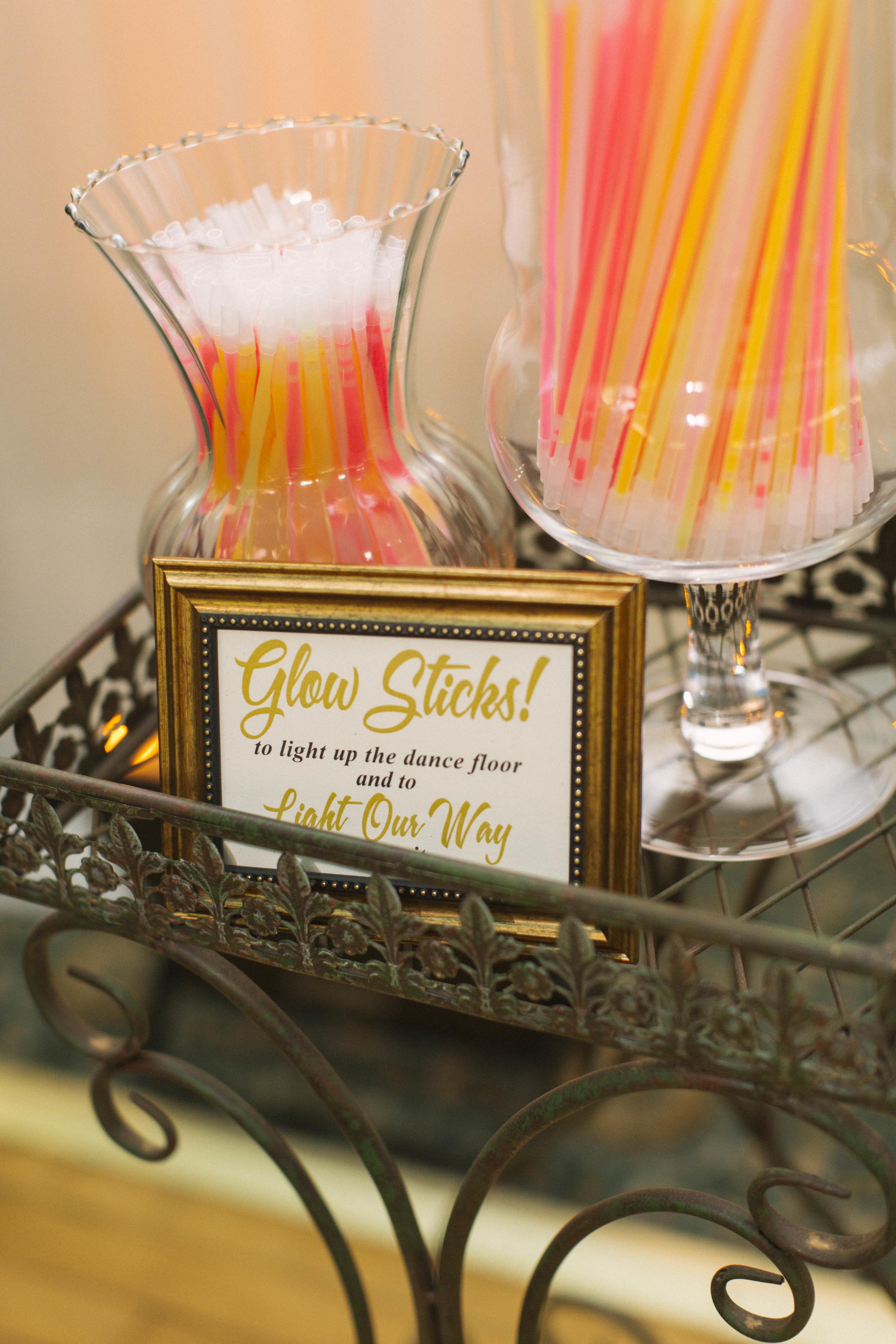 winsor event studio wedding glow sticks