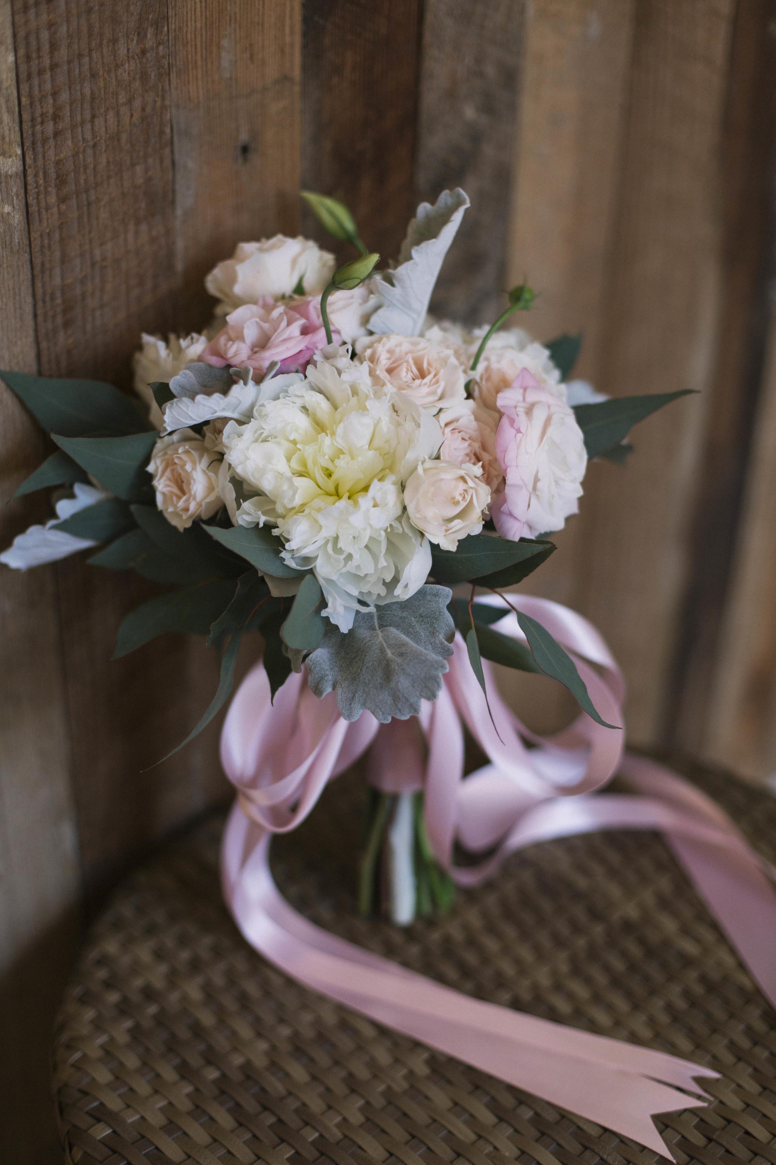 winsor event studio blush ivory bouquet ribbons
