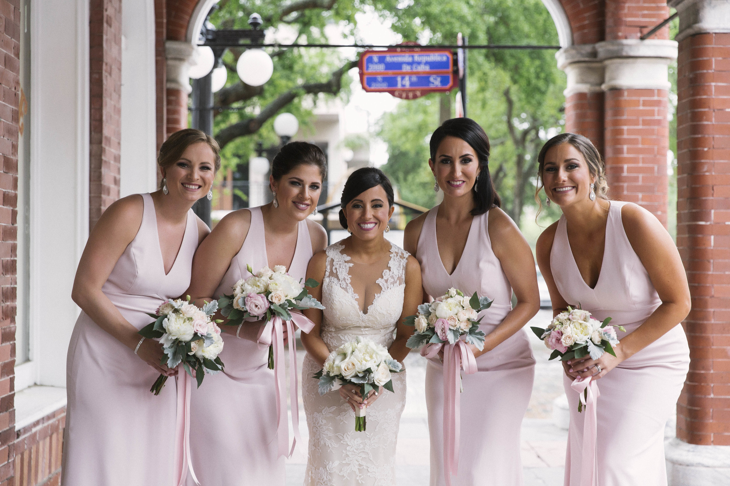 winsor event studio ybor tampa wedding blush bridesmaid dresses