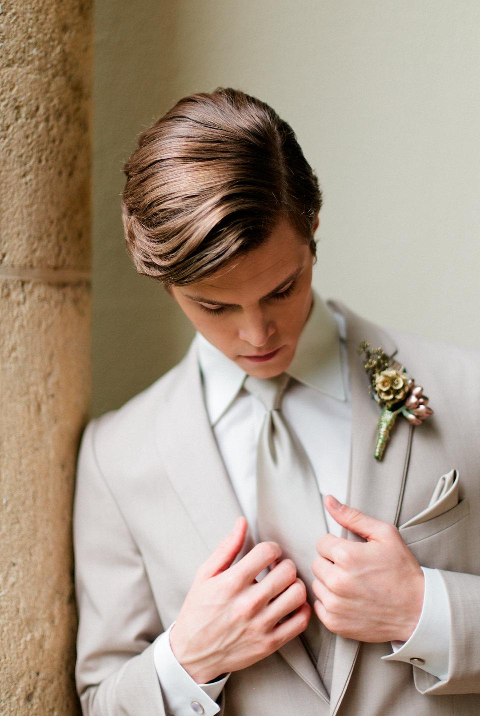 winsor event studio groom kahki tan suit