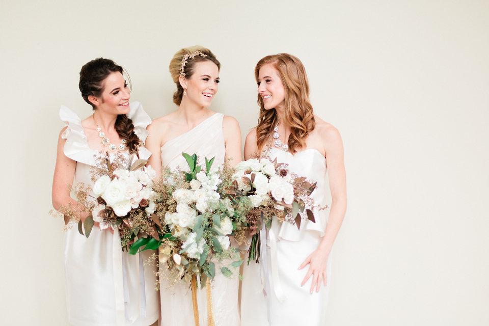 winsor event studio neutral white bridesmaid dresses
