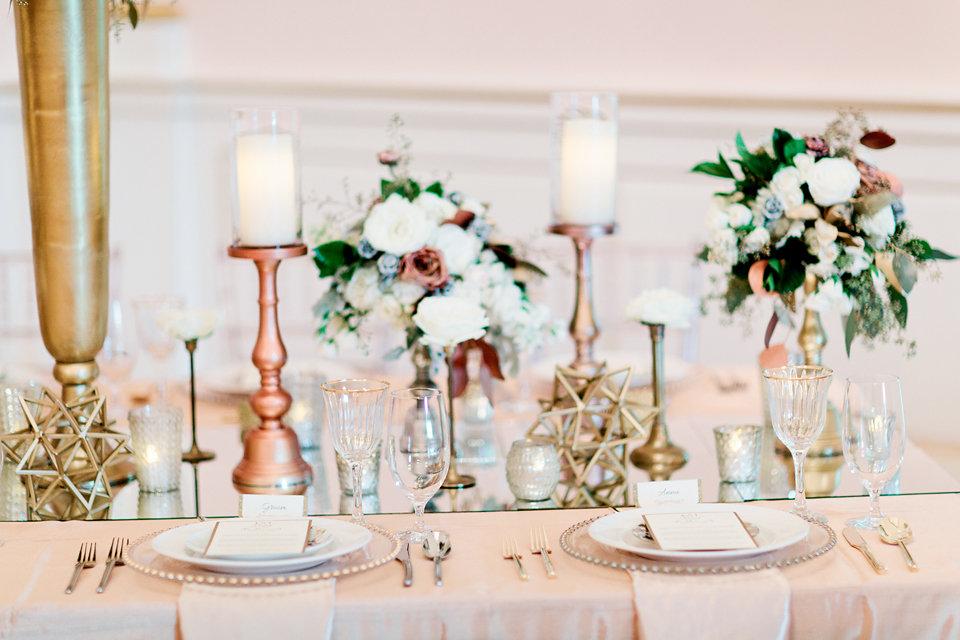 winsor event studio metallic centerpiece wedding