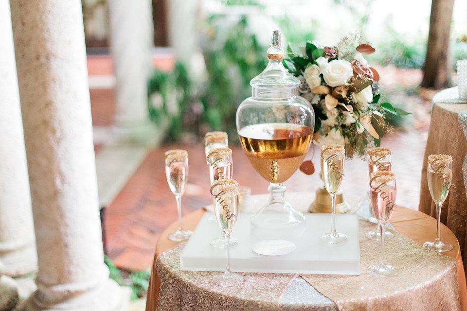 winsor event studio champagne beverage dispenser wedding