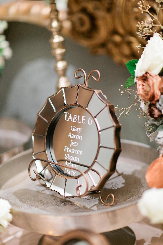 winsor event studio mirror seating chart wedding