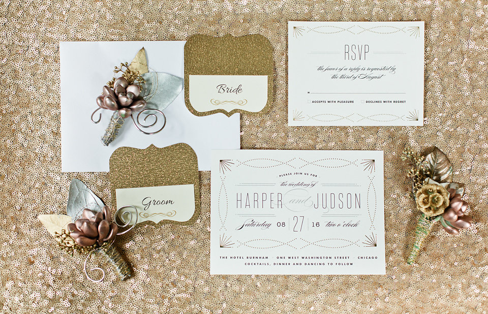 winsor event studio sequin glitter metallic foil stationery wedding invitation