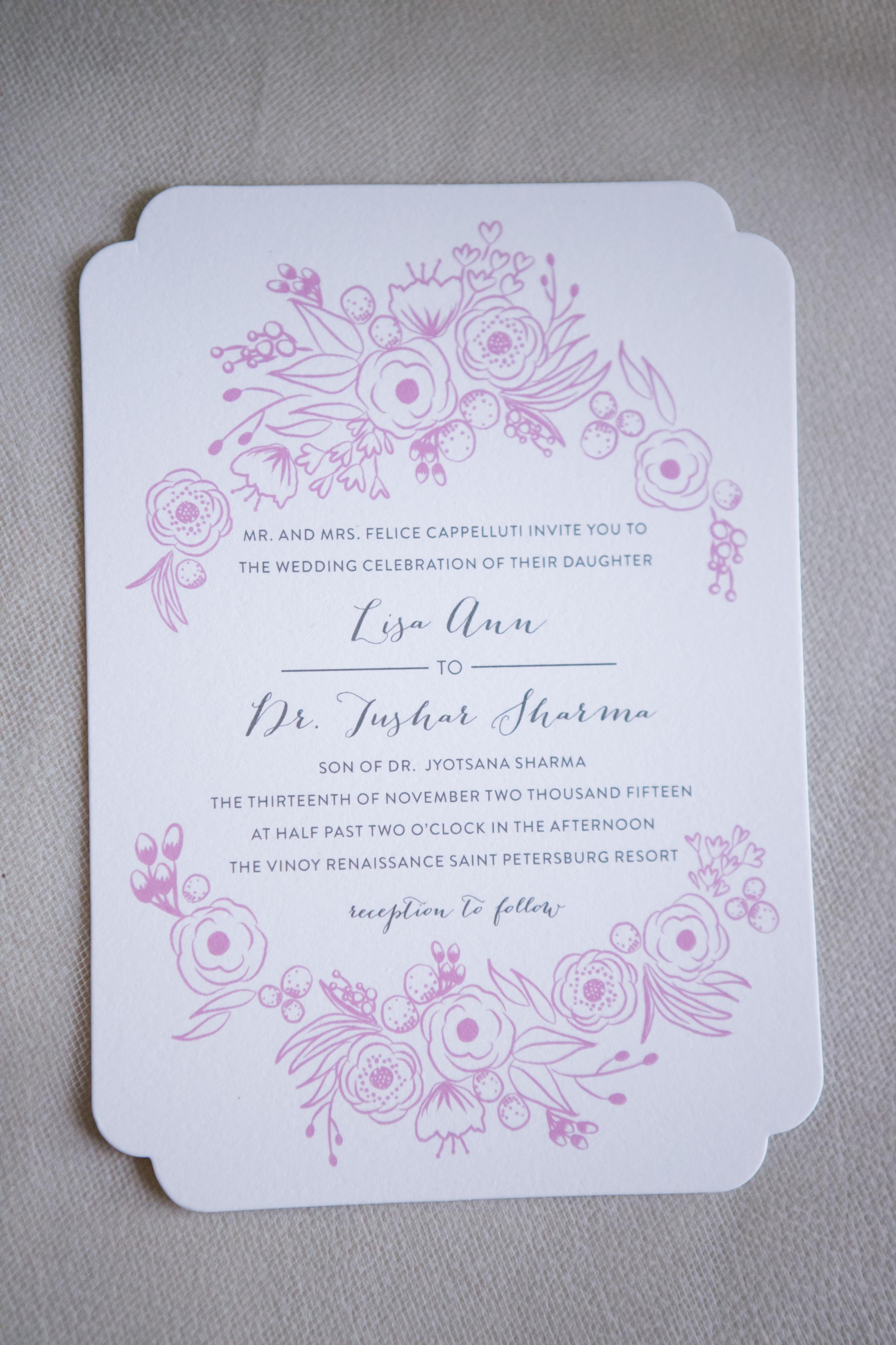 winsor event studio wedding invitation pink floral
