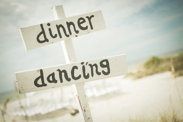 winsor event studio beach wedding directional sign