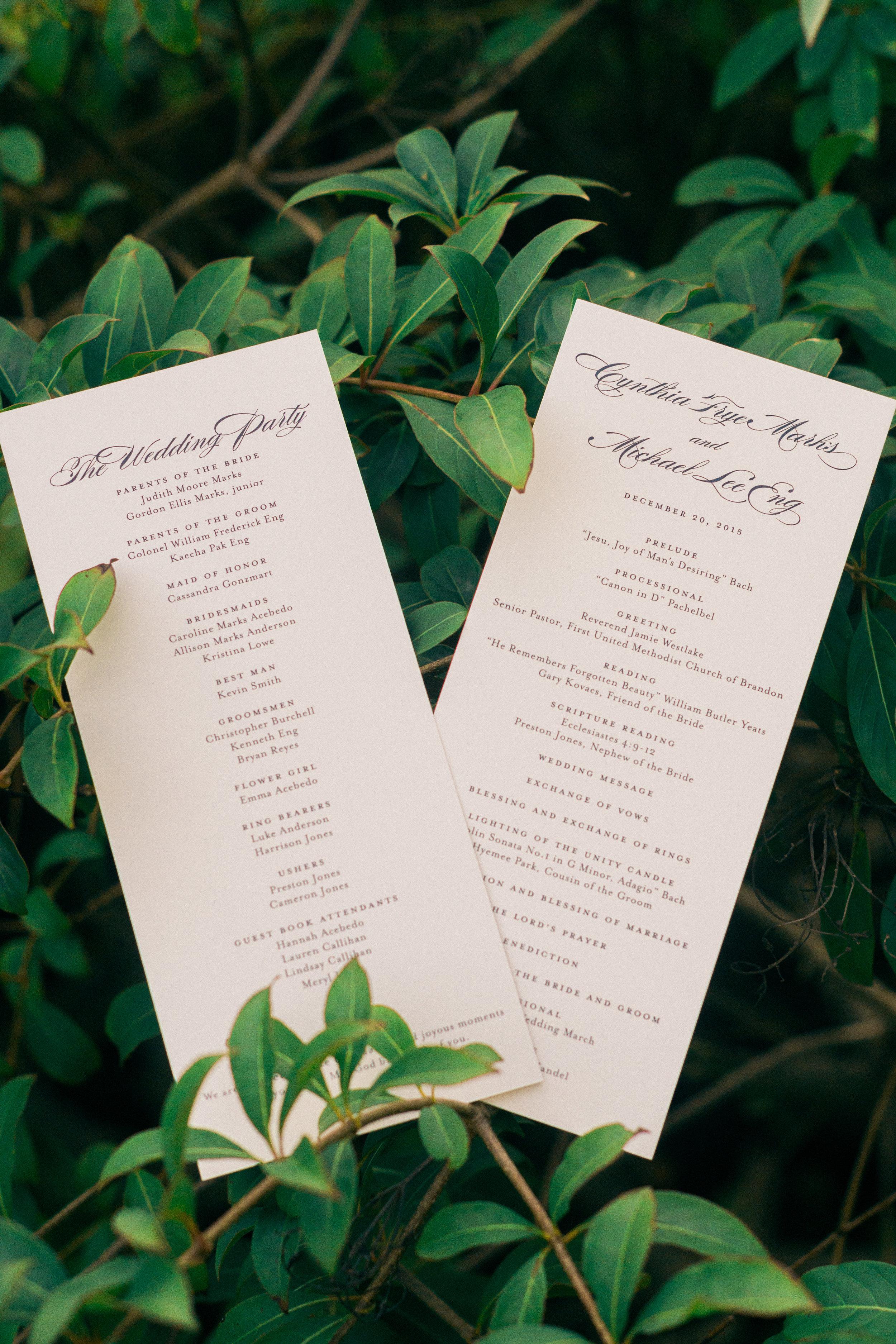 winsor event studio calligraphy program wedding