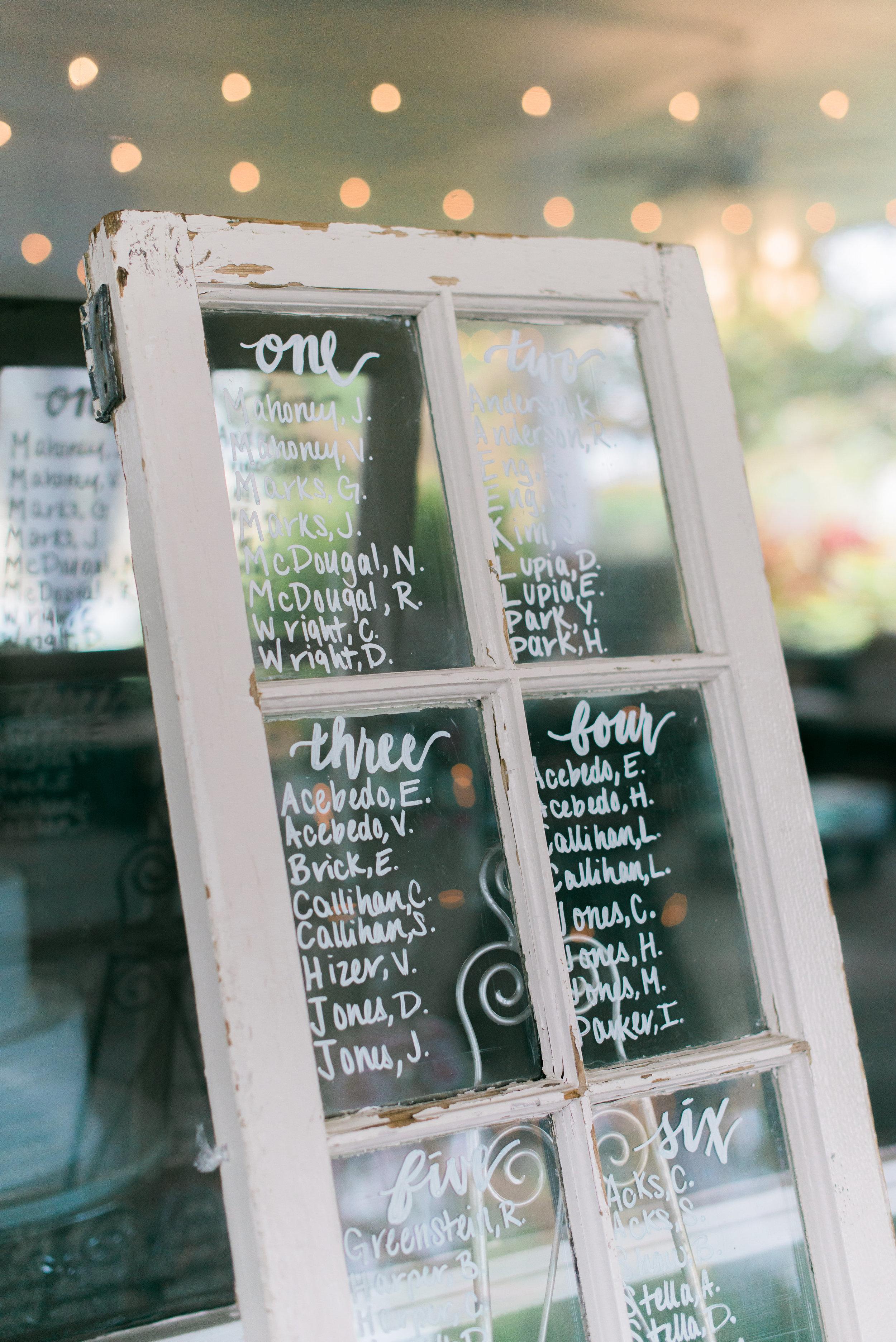 winsor event studio window pane seating chart wedding
