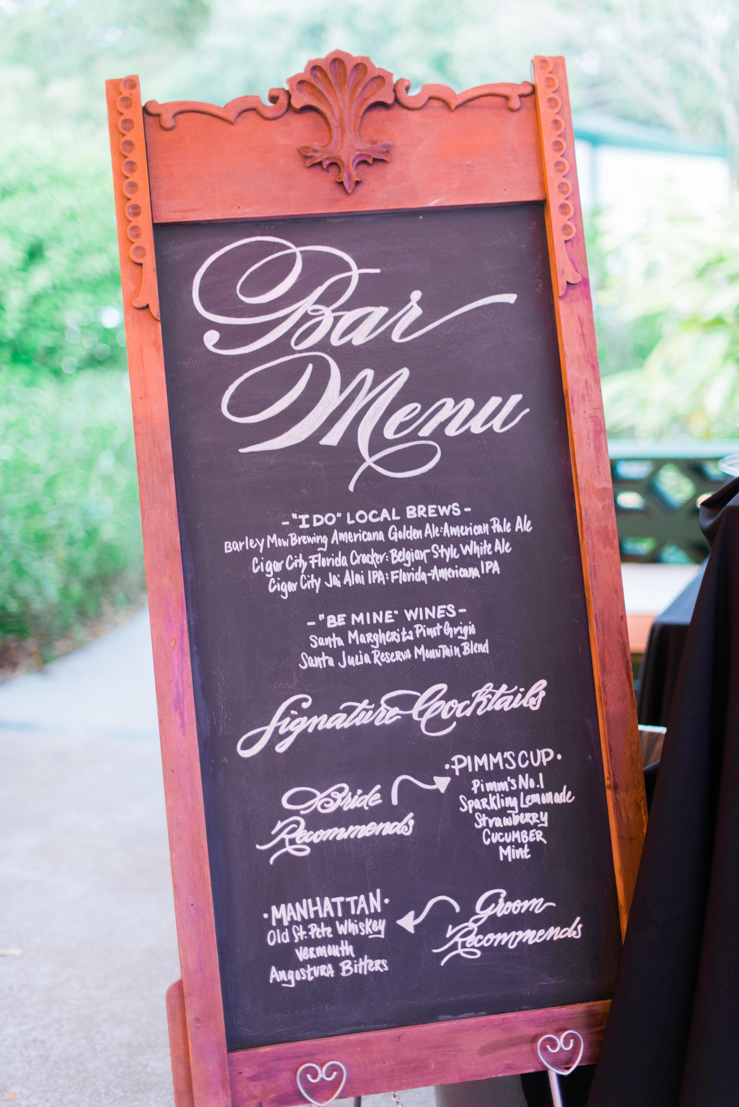 winsor event studio chalkboard menu wedding bar