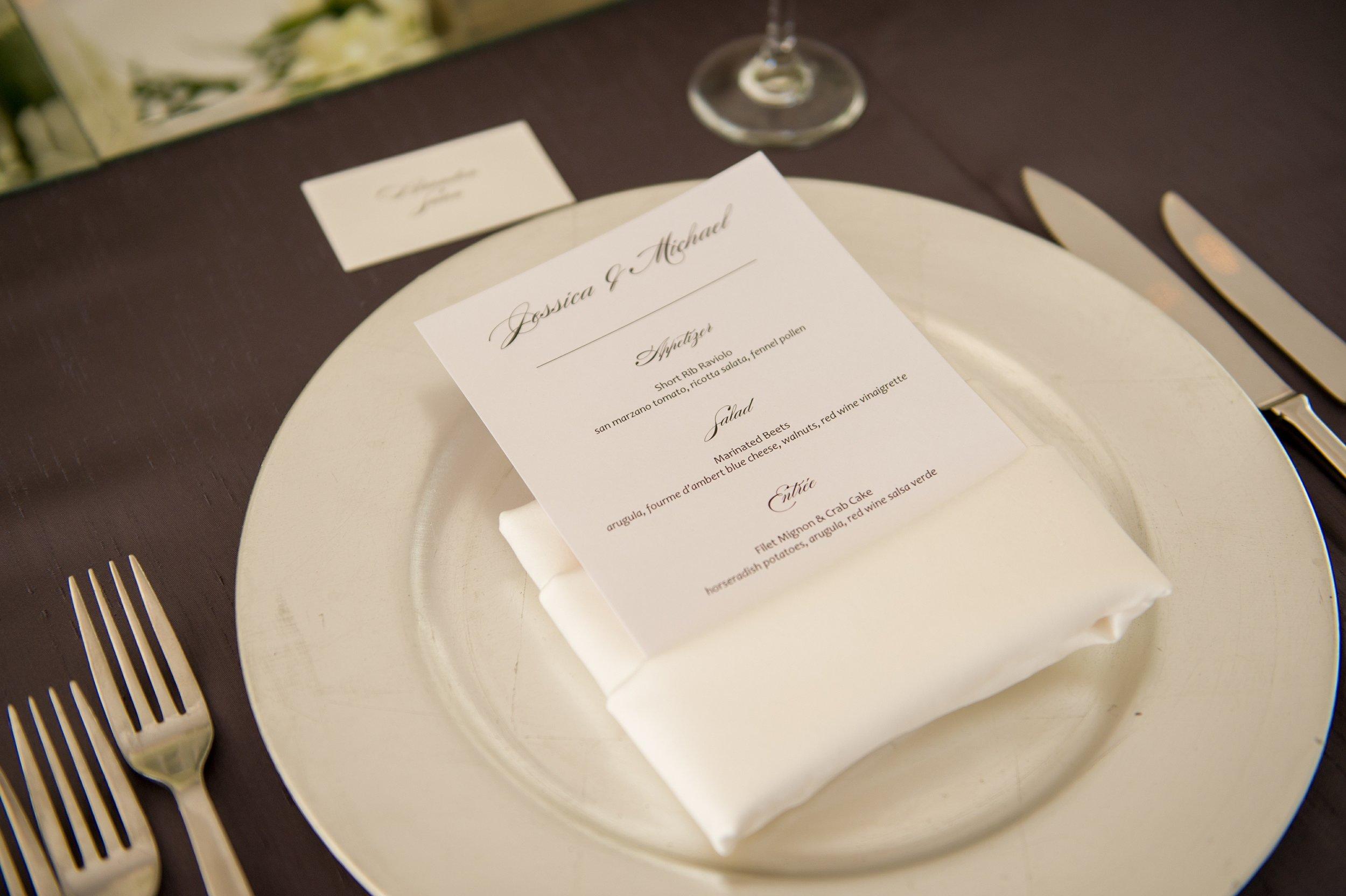 winsor event studio wedding menu napkin