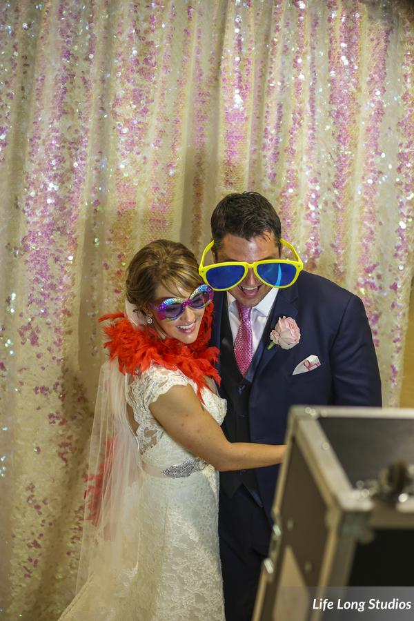 How much do you love this ivory and blush sequin photo booth backdrop?!?!