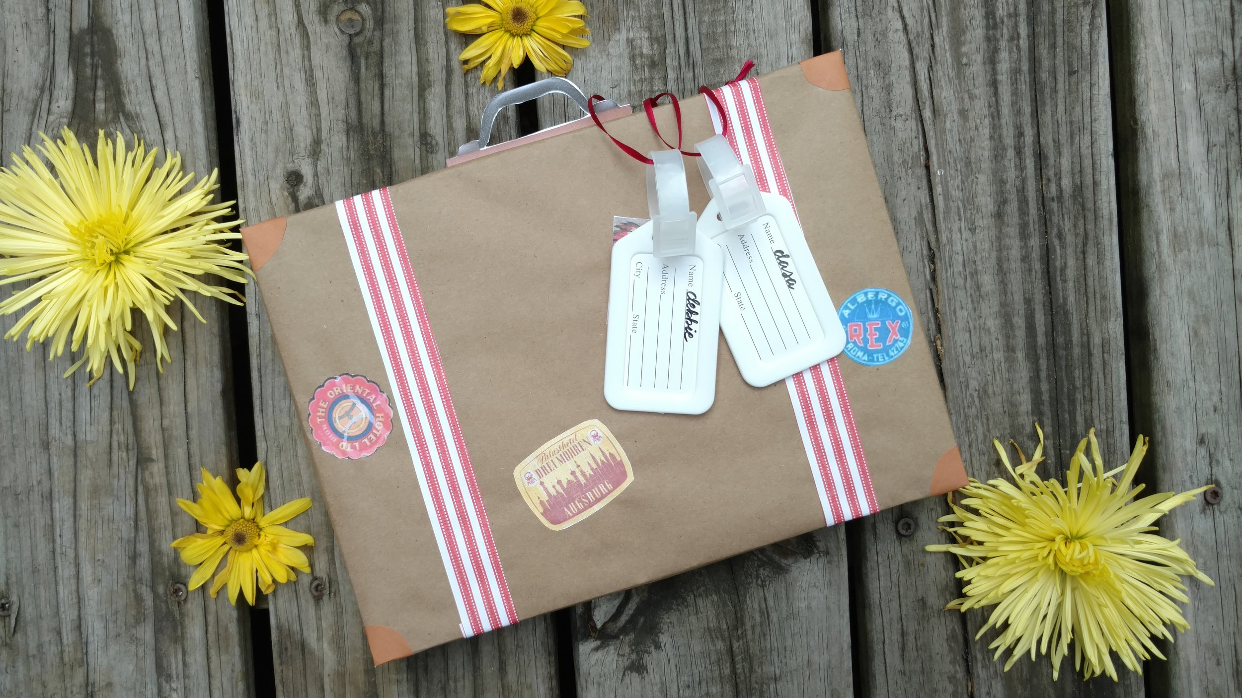 I used mailing paper (like kraft paper) to wrap gift boxes to look like suitcases.   Jot mailing paper rolls  / Gift Boxes /  Printable travel stickers  /  DIY handles template