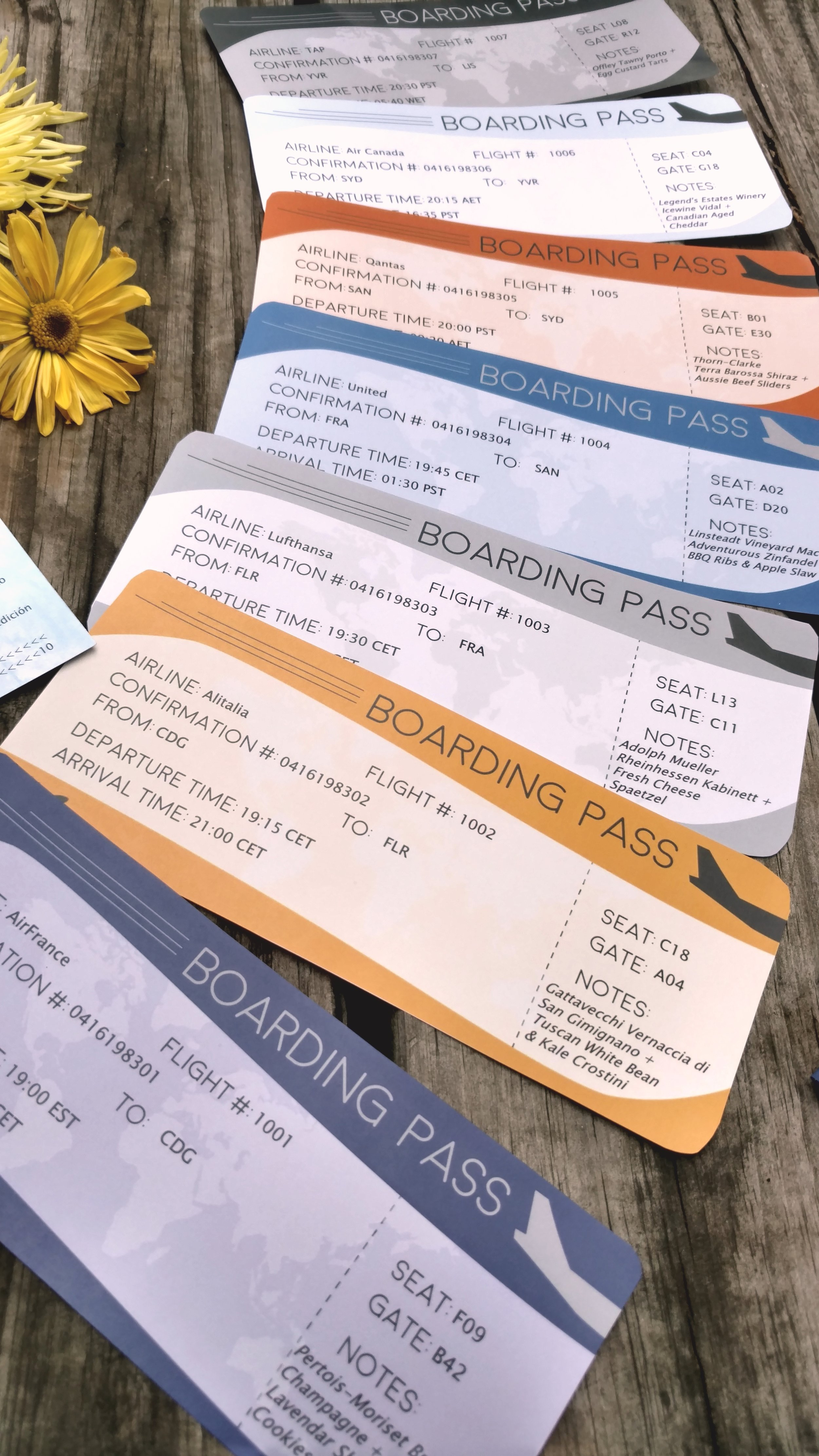 You can easily customize these  printable boarding passes  found on Etsy