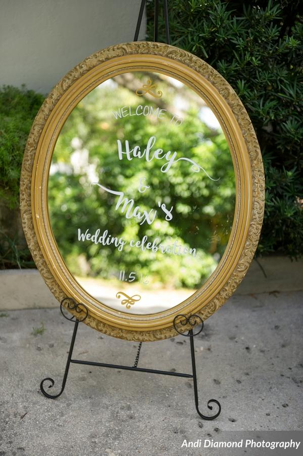 Mirrored signage featured custom calligraphy decals