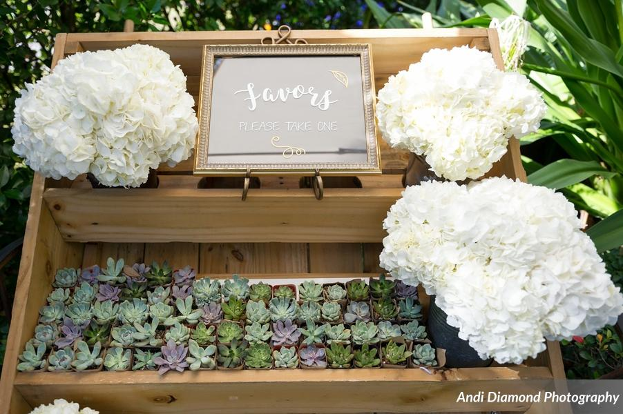 Succulents, a recurring theme throughout this boho backyard wedding, were gifted to guests as favors.
