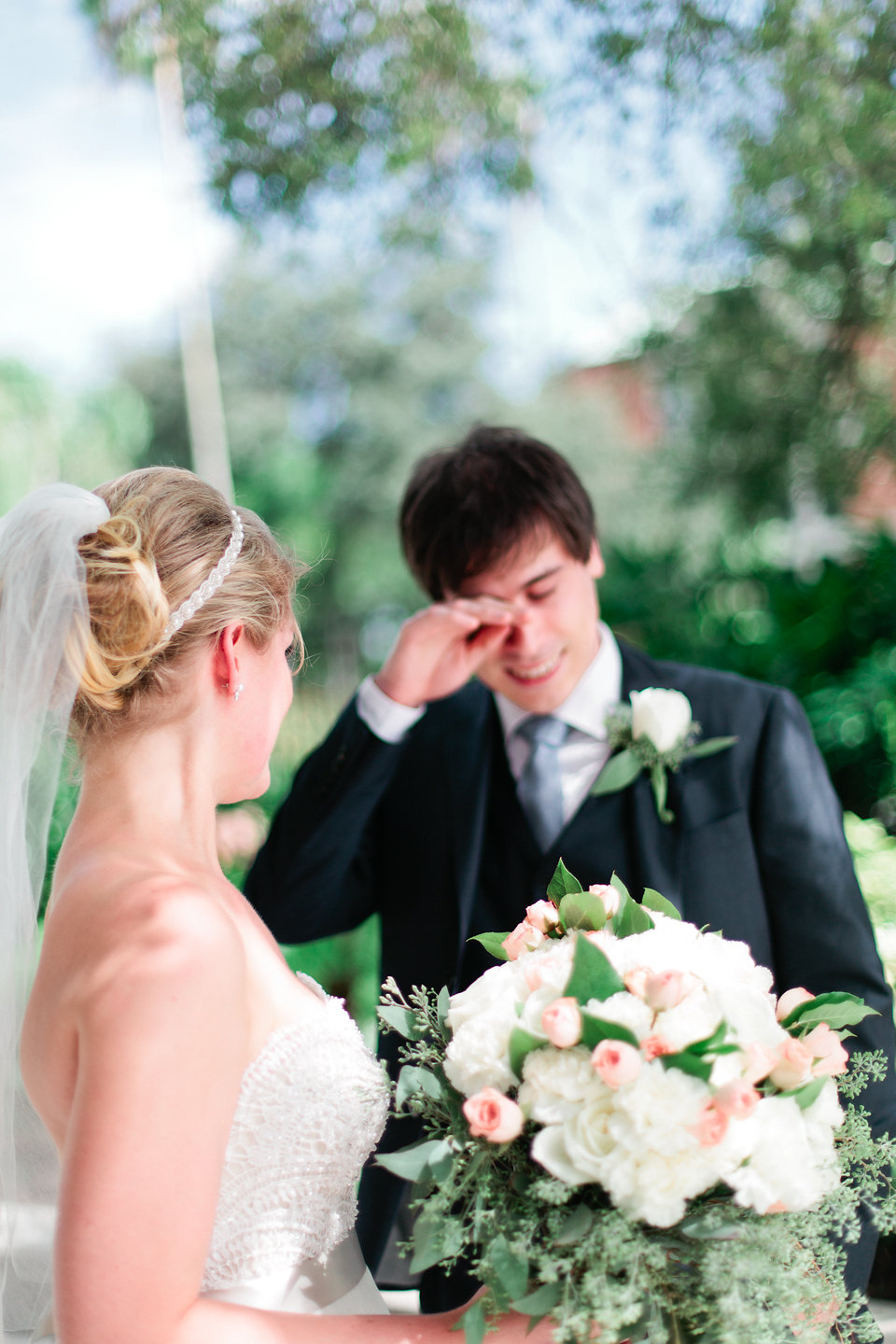 Every girl's dream - a tear from the groom during the intimate moments of their first look.