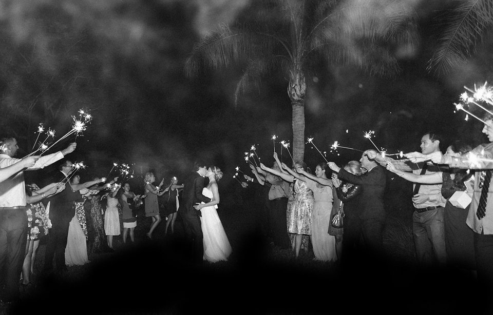 The pair were sent off through a tunnel of sparklers!