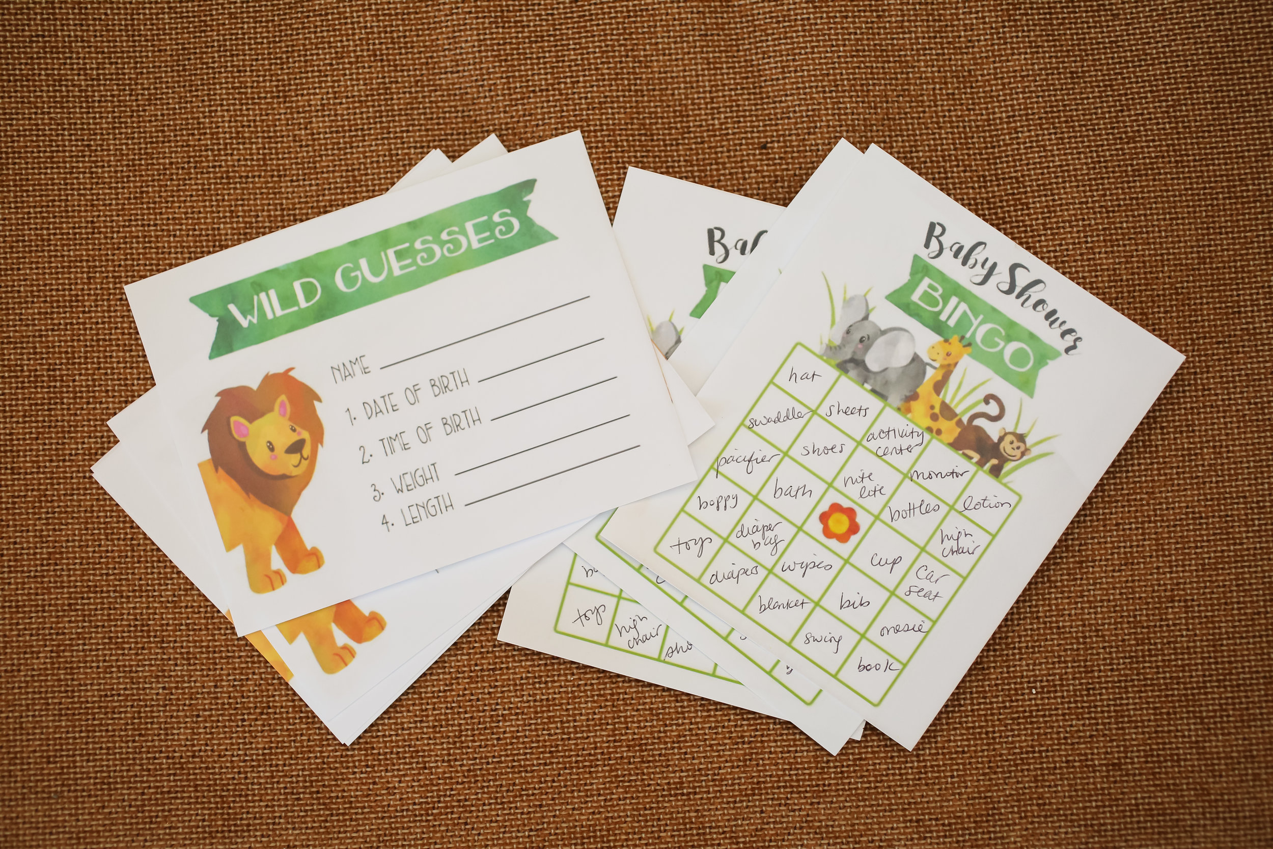 Coordinating stationery pieces included 'Wild Guesses' cards and Gift Bingo!