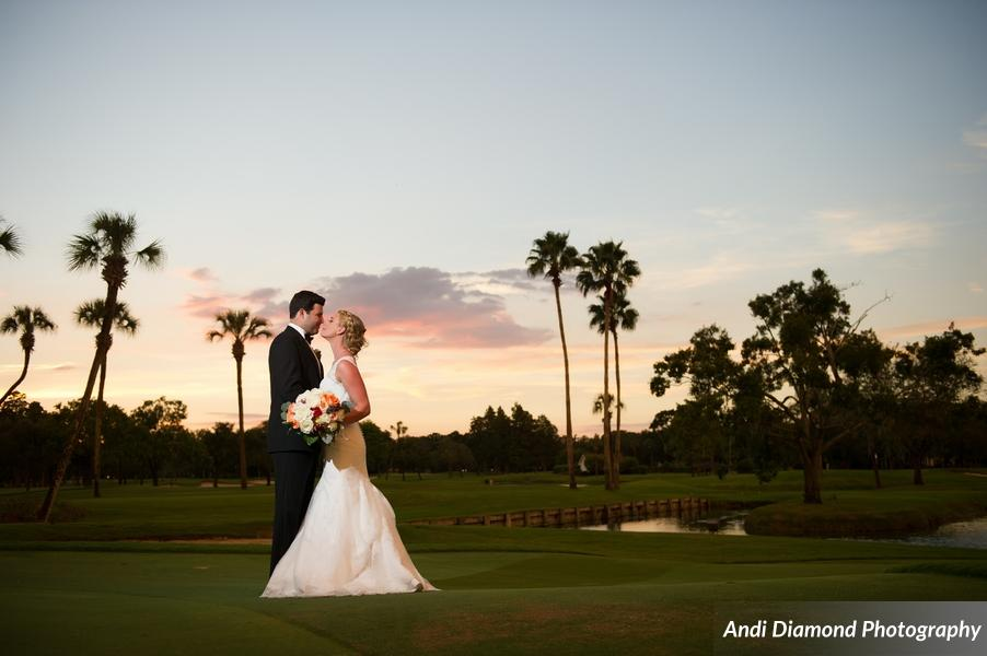 The couple shared an intimate moment beneath a sunset lit sky on the expansive greens of the Palma Ceia Golf and Country Club.