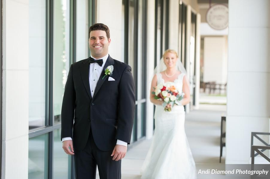 The groom looked so excited waiting to see his beautiful bride for the first time that day.