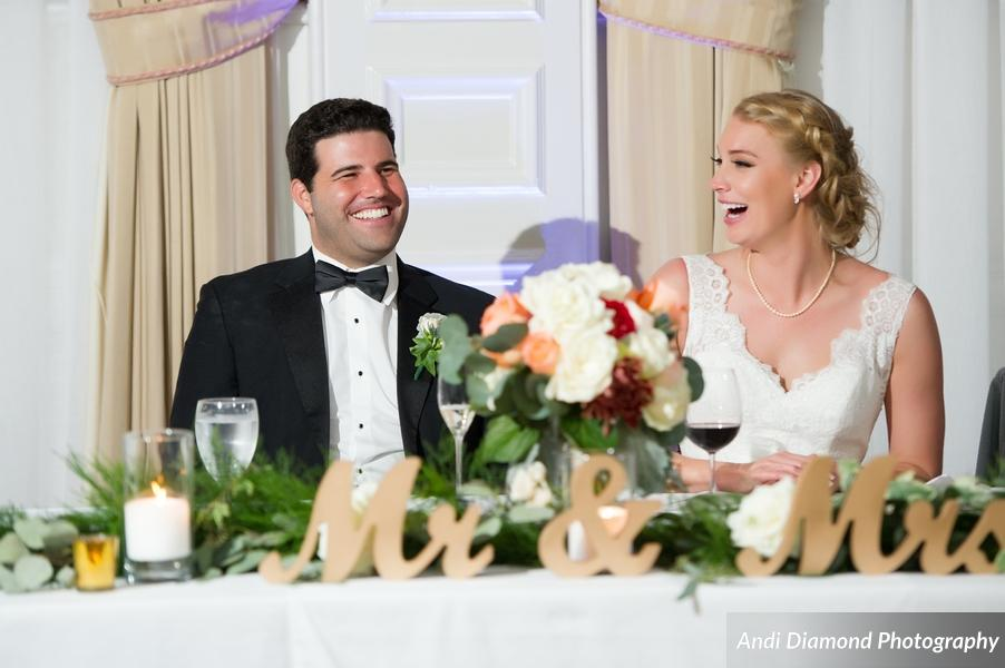 The couple were full of love and laughter during speeches.