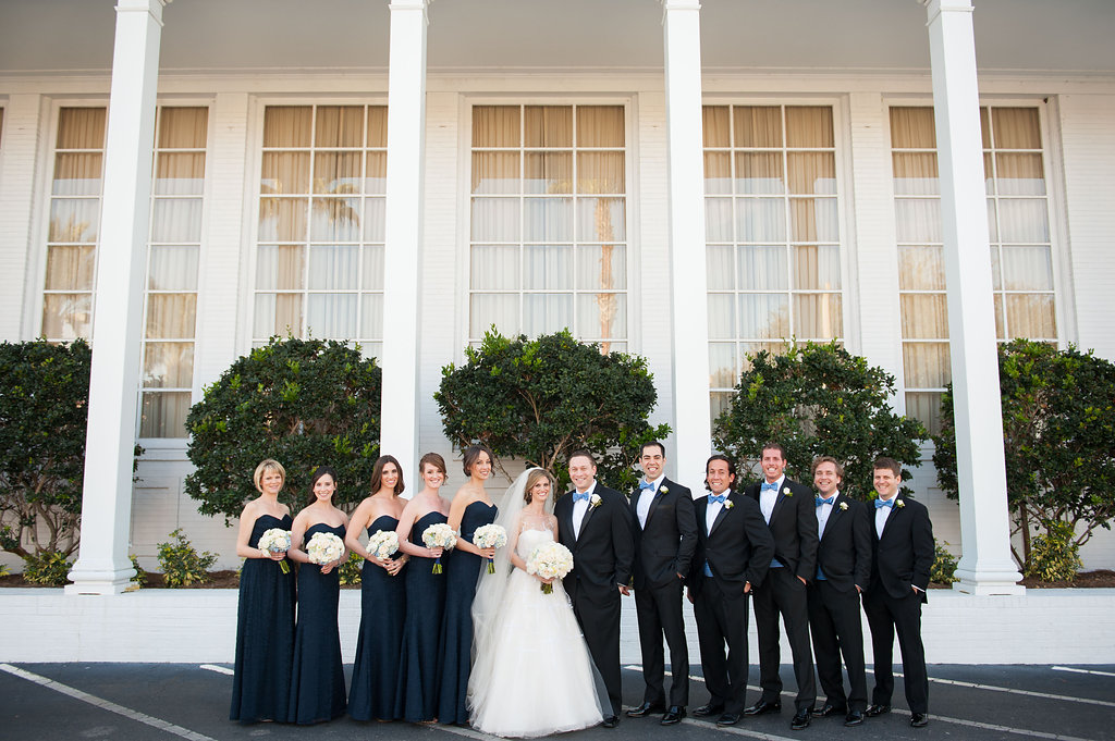 Their navy and white color palette included pops of Carolina blue, in honor of the groom's alma matar.