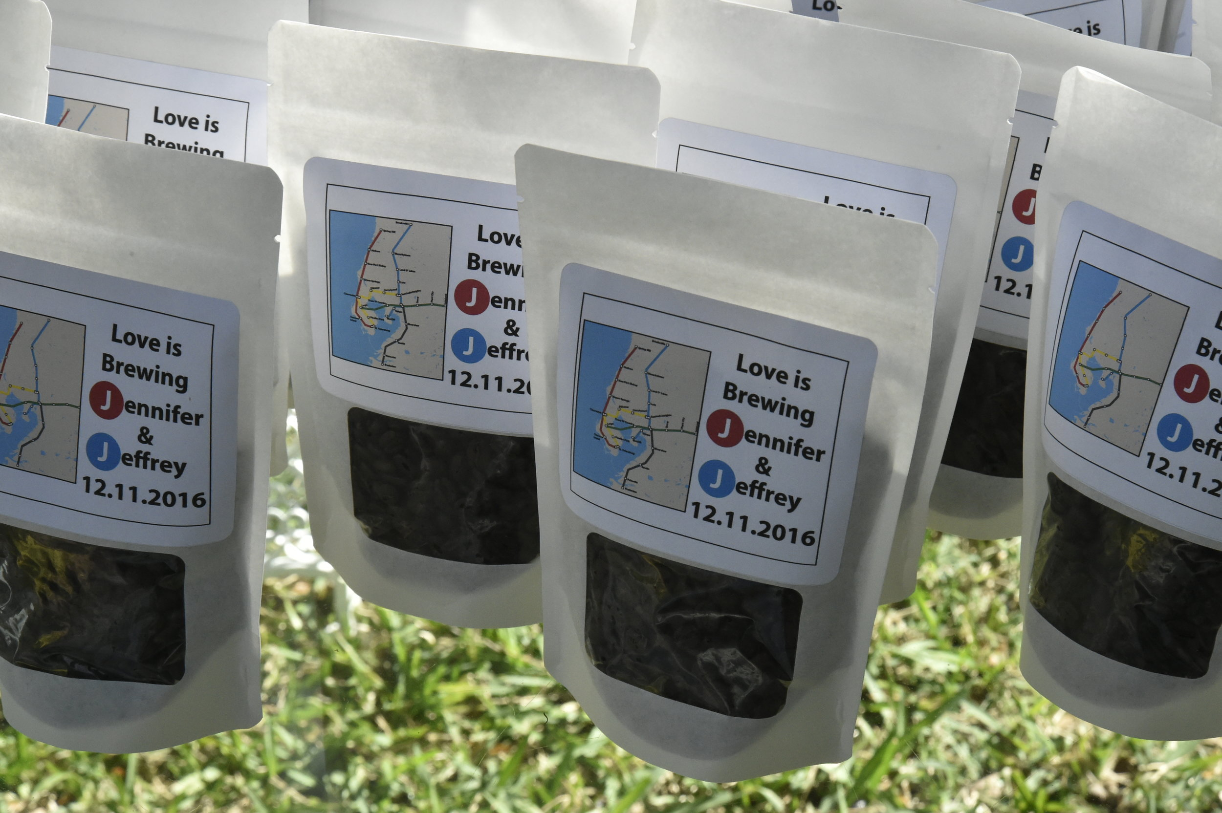 Love was brewing when the couple sent guests home with bags of coffee beans as favors featuring a transit-themed label!