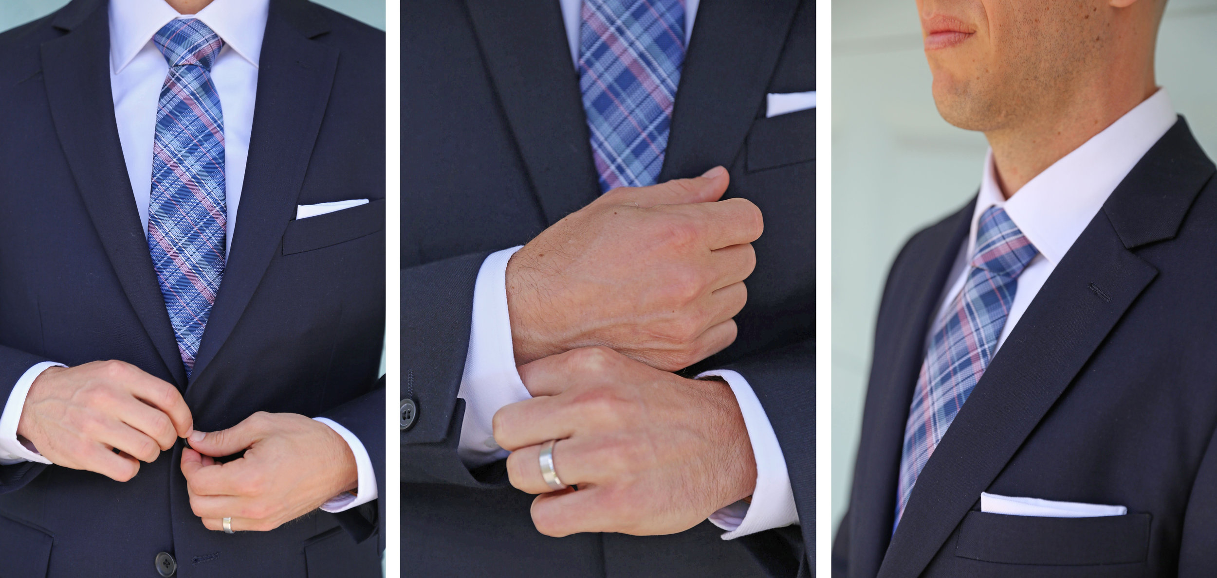 The groom looked sharp getting ready in his navy suit with a blush and blue plaid tie.