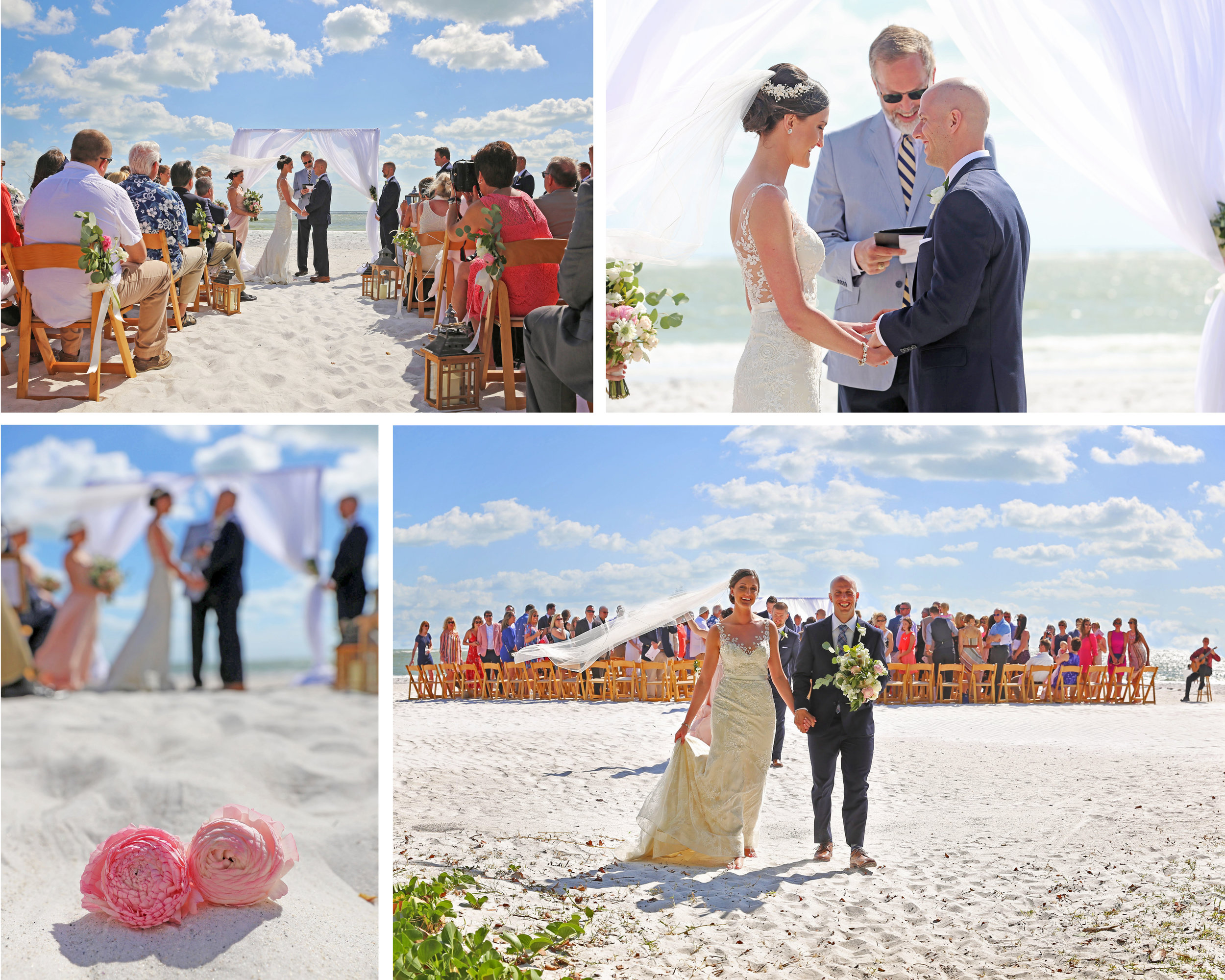 Everyone sat beneath a blue sky and fluffy white clouds during this gorgeous beach ceremony.