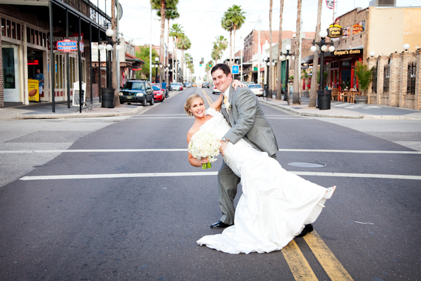 The couple looked elated post ceremony, as they posed in the heart of Ybor.