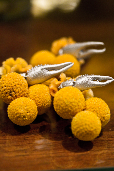 The groomsmen had a little more flair in their boutonnieres, with bright yellow crespedia accented with metallic fiddler crab claws.