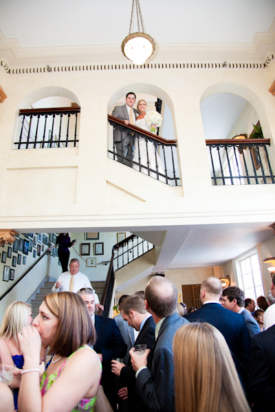 The couple made their entrance down the steps of The Italian Club.