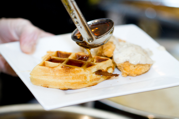 Southern comfort food, like chicken and waffles, were served at the reception.
