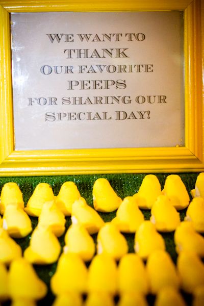 Peeps and a clever sign made an easy but adorable favor display!