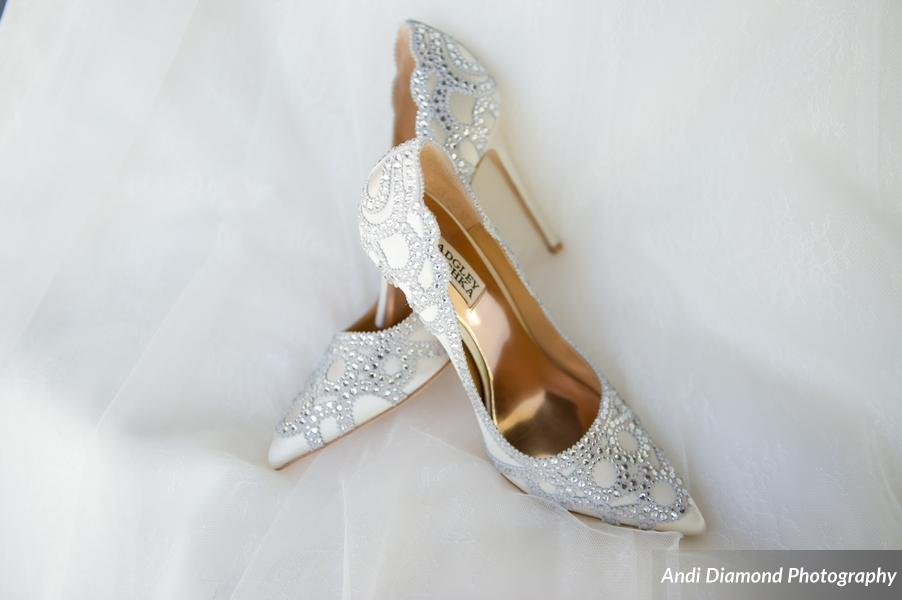 The perfect amount of sparkle in the bride's Badgley Mischka designer pumps.