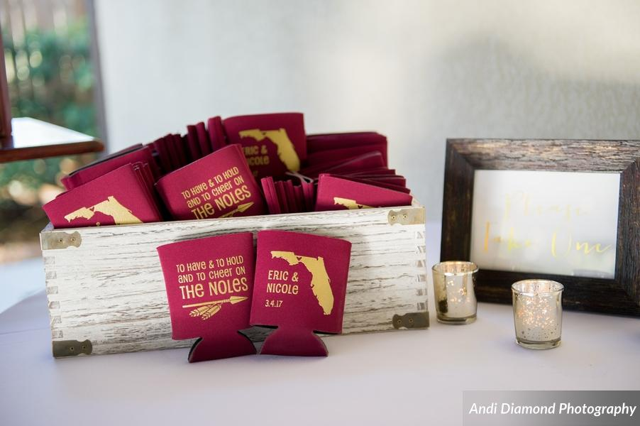 The couple had custom garnet and gold koozie favors, which shared their love of FSU (and each other) with their guests.