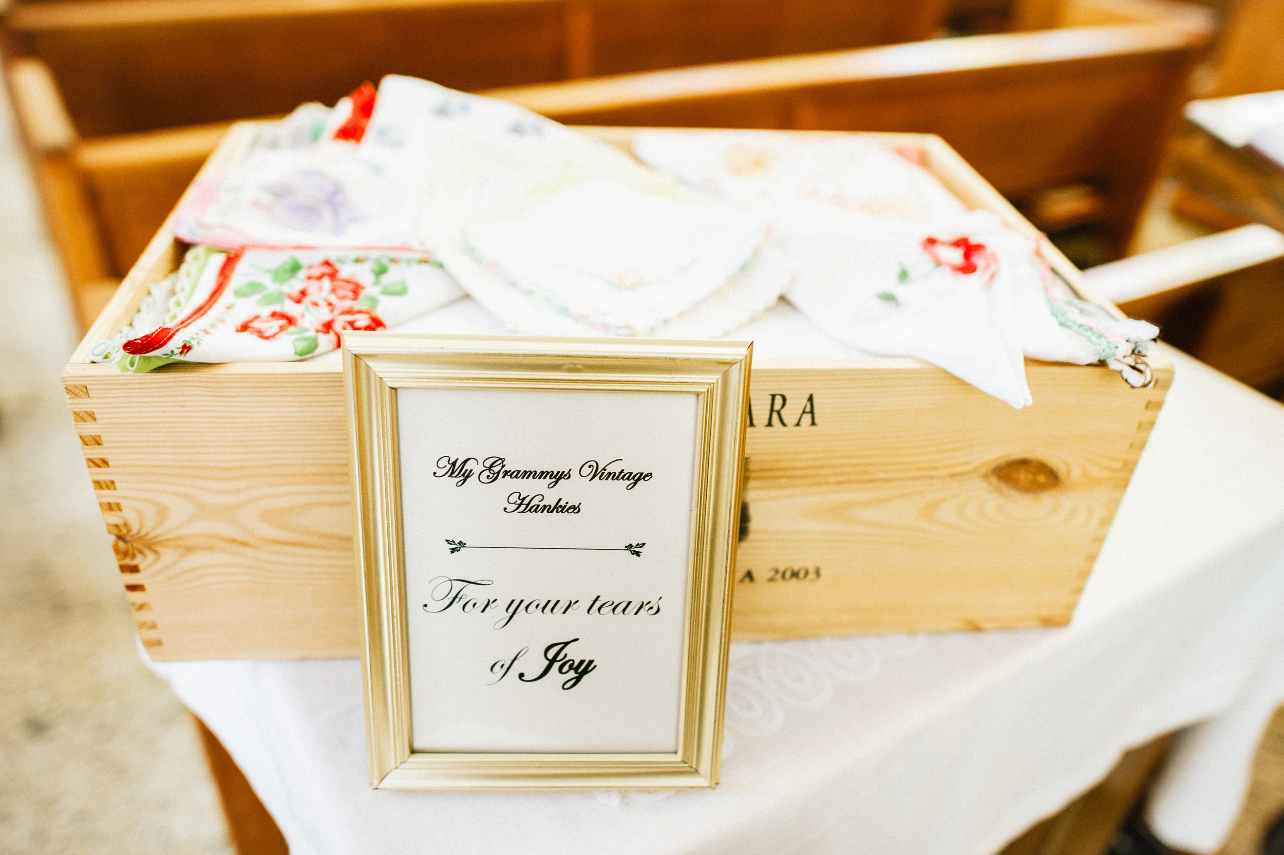 Vintage handkerchiefs (belonging to the bride's late grandmother) were provided to guests during the ceremony, for tears of joy of course!
