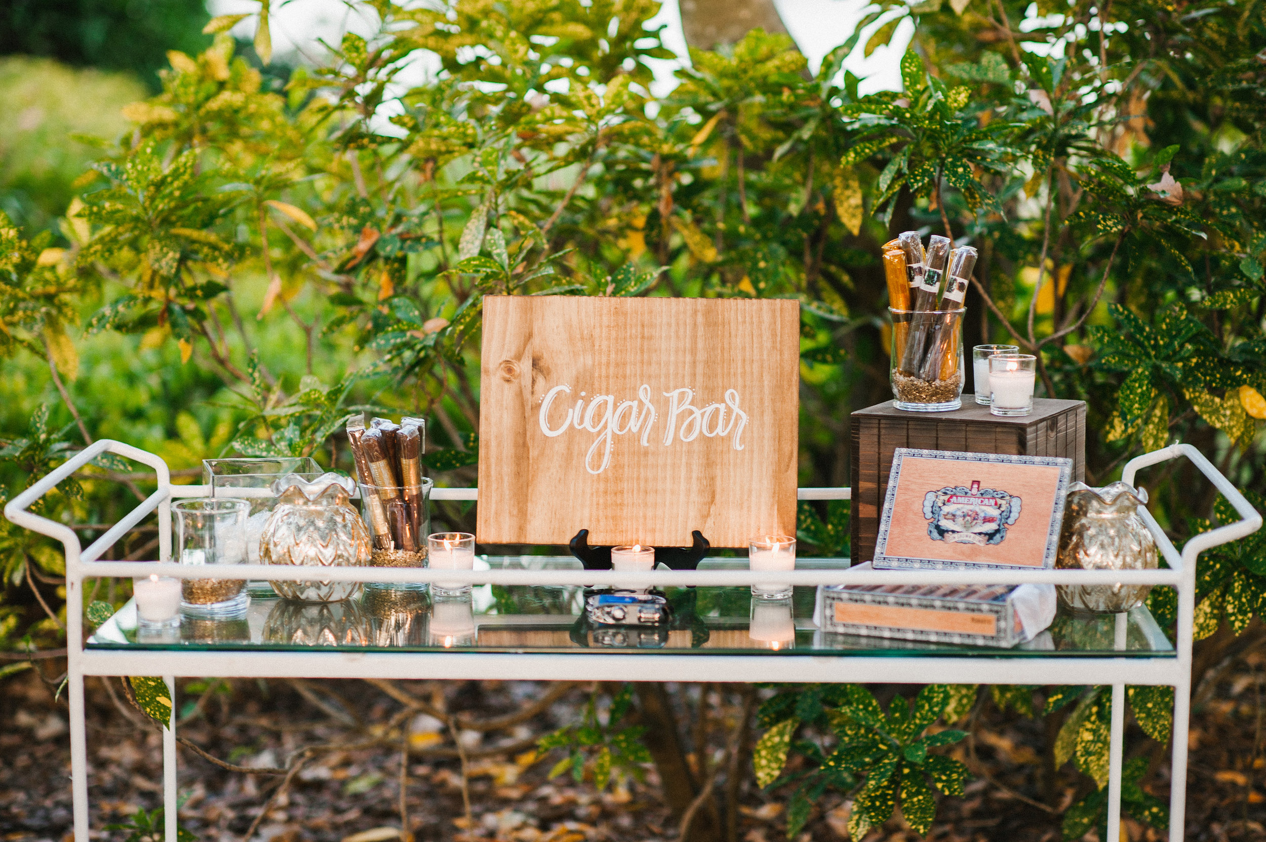 A chic and elegant cigar bar was provided to guests during the cocktail hour and reception.