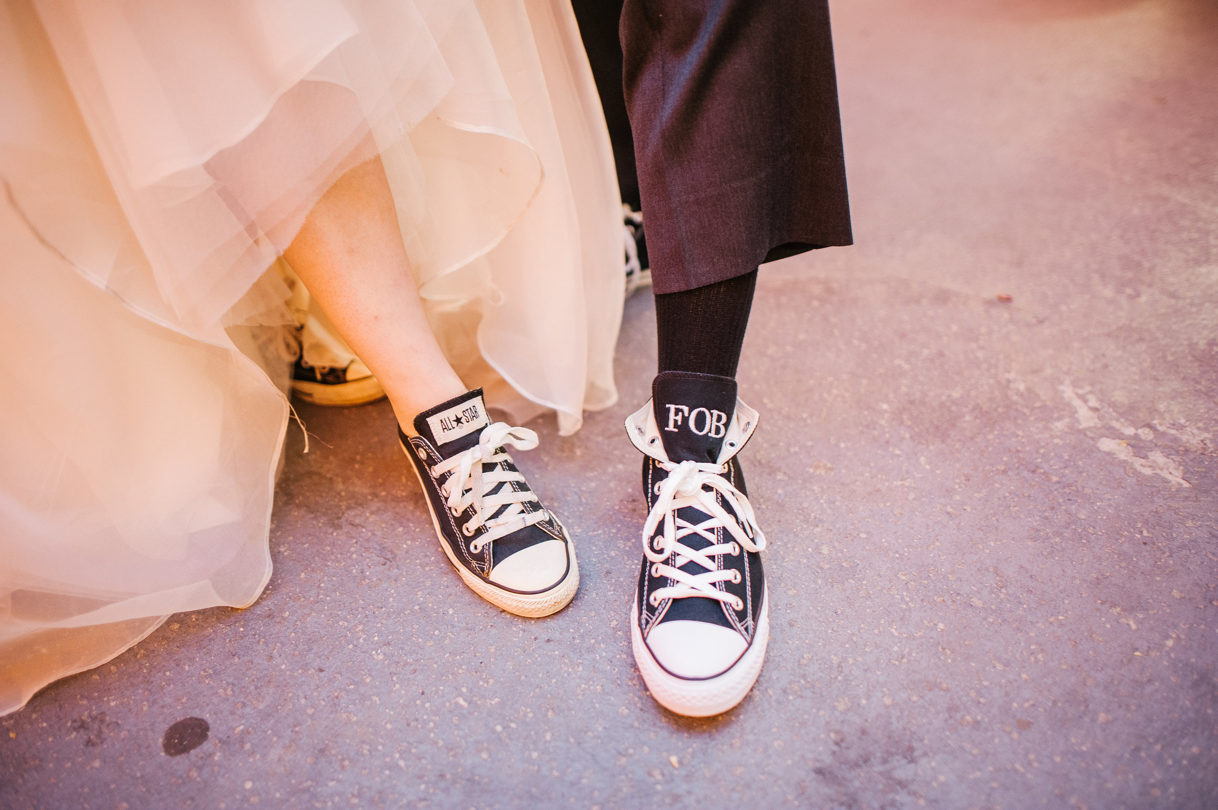 The bride and her father wore matching black Converse during their specialdance.