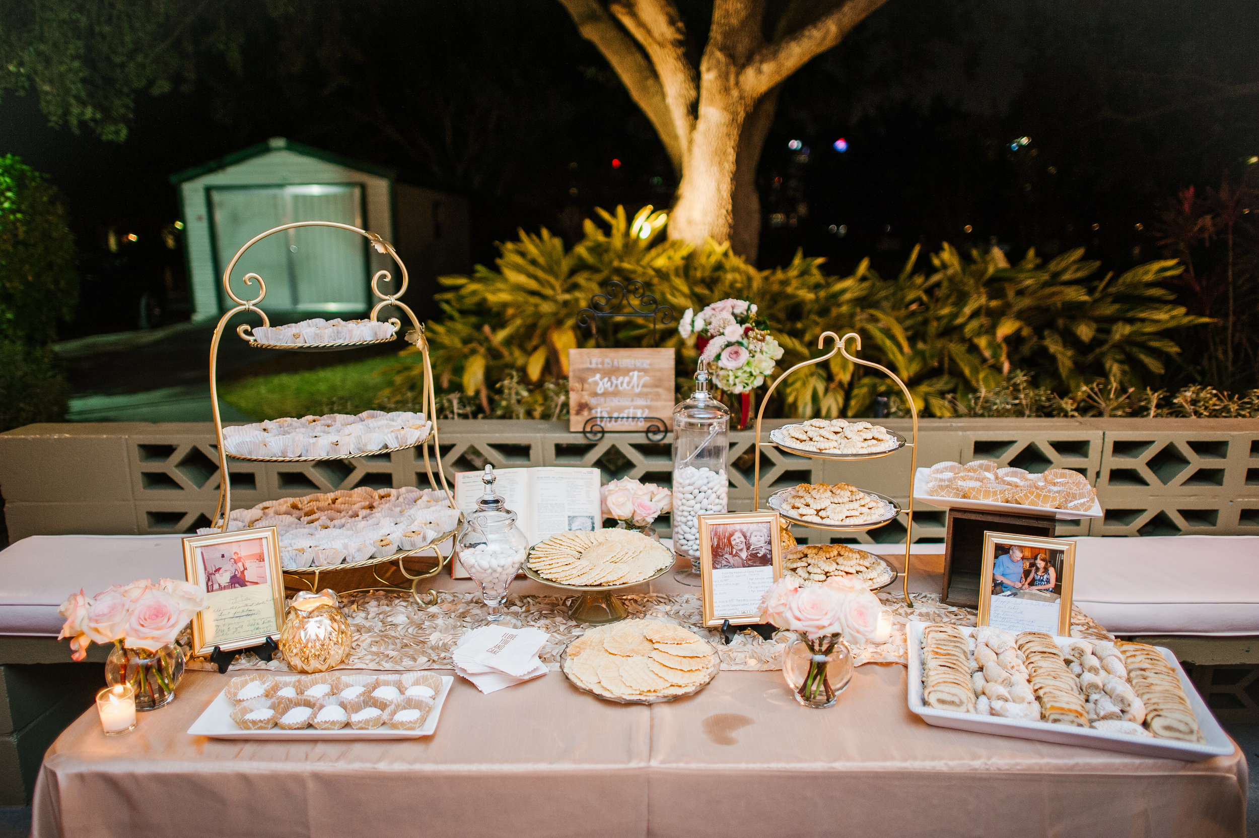 Trays and platters of homemade cookies were provided to guests for late night snacks. Each cookie represented a special family recipe!