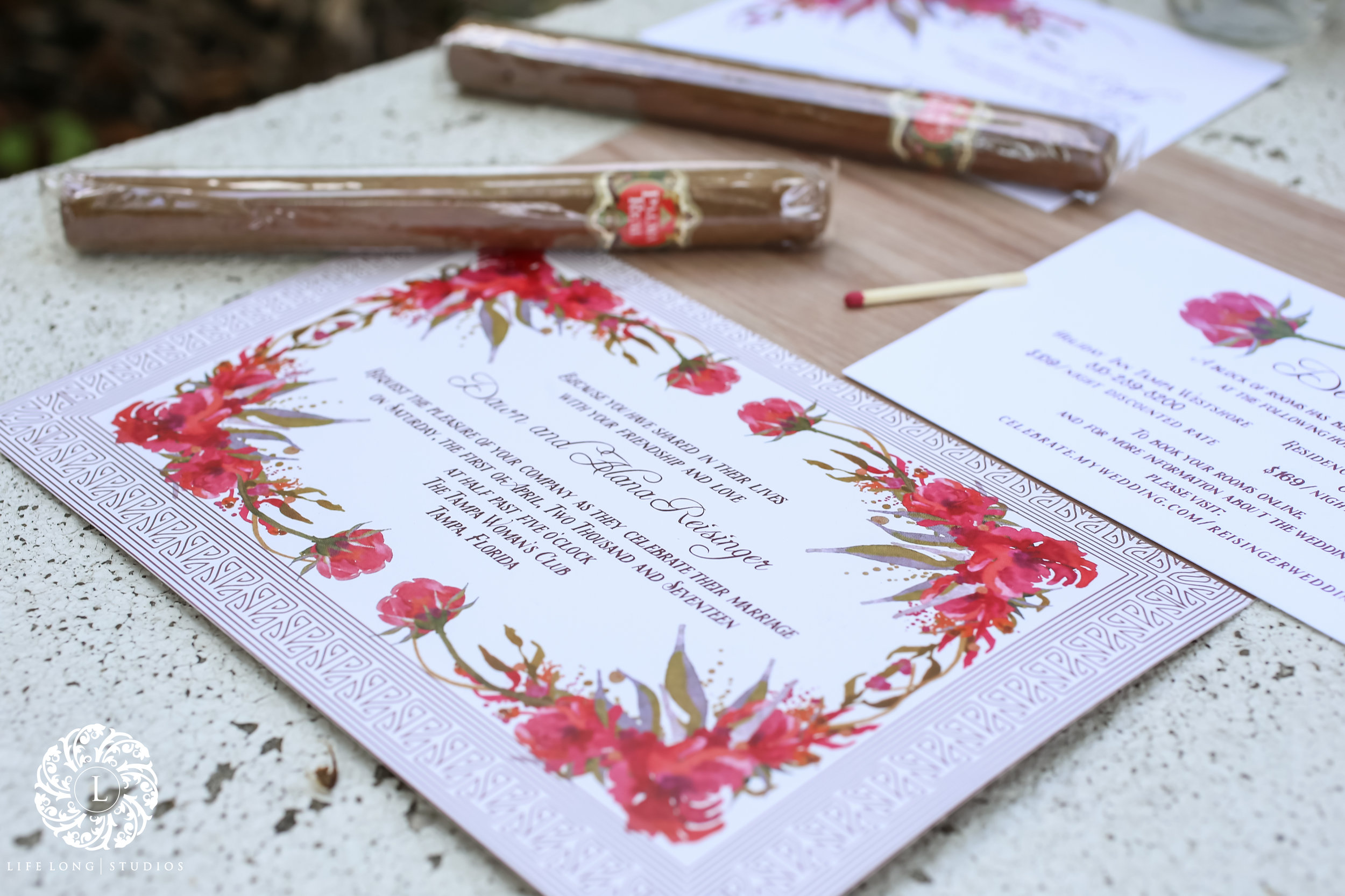 The invitation set was designed to resemble a vintage cigar box which opened up to reveal all the details!