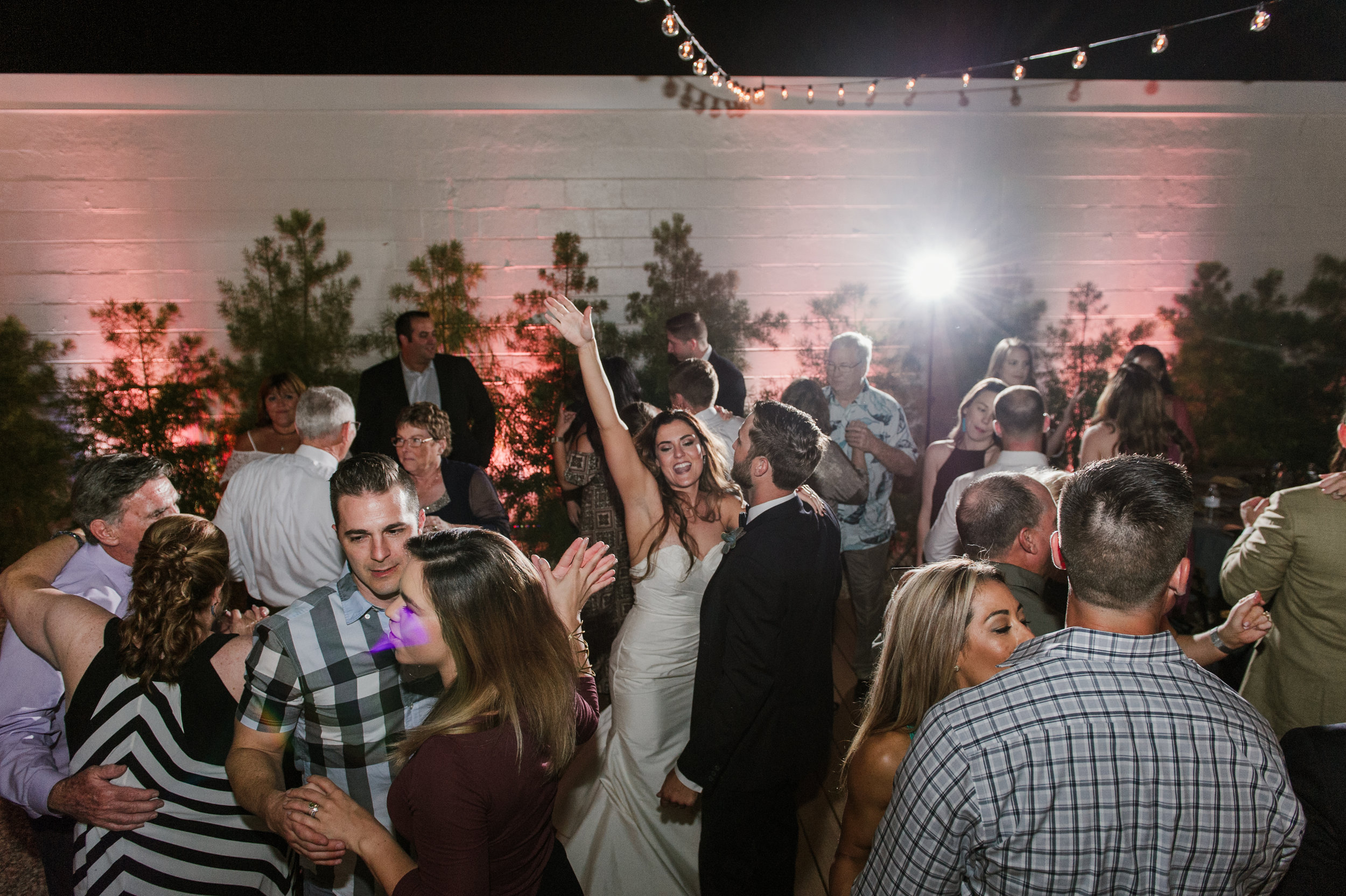String lights and uplighting created the perfect party atmosphere!
